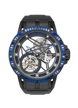 Excalibur Spider Skeleton flying tourbillon with gem-set rubber bezel