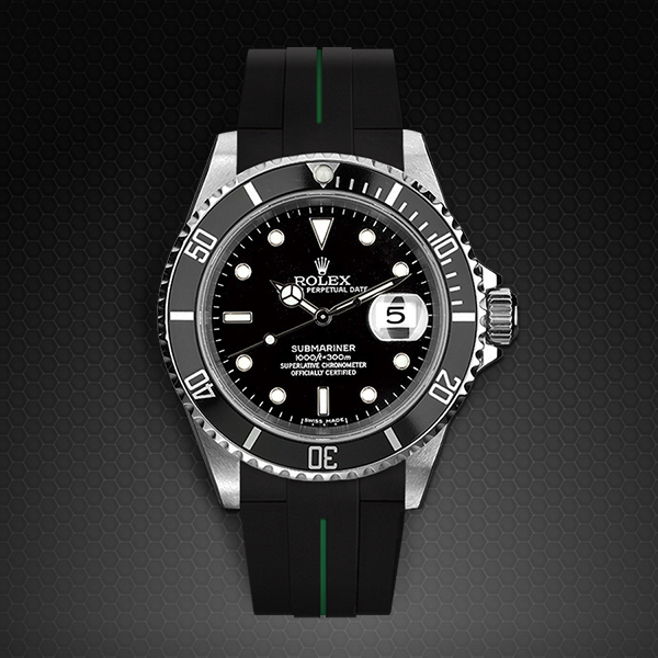 Rubber B  Submariner Non-Ceramic Classic Series VulChromatic Jet Black Forest Green M103-BK/VCFG-SNC